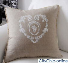 45cm x 45cm TBS French Provincial Floral Heart Linen Cushion Cover