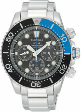 Seiko Solar Divers Black Dial Stainless Steel Mens Watch SSC017