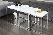 Designer Couchtisch 3er Set Chrom in Weiß Tisch Beistelltisch Zigon REPRO NEU