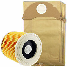 5 x Wet & Dry Vacuum Cleaner Dust Bags & Hoover Filter For KARCHER WD2