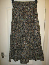 LADIES SIZE 14 ANKLE LENGTH NAVY FLORAL COTTON SUMMER SKIRT ELASTICATED WAIST