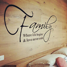Family &Love Quote Wall Stickers Removable DIY Art Vinyl Decor Home Room Decal U