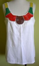 Ladies Womens Sleeveless Linen Blend Casual Top Beaded Neck Rockmans Size 10