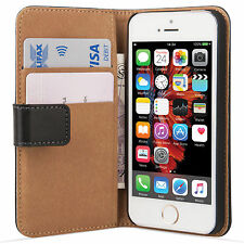 Premium Black Leather Wallet Flip Case Cover for iPhone SE 5S & 5