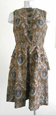 VINTAGE 60S CHIC BROWN RETRO PATTERN TAILORED MOD DOLLY POCKET DAY DRESS 10