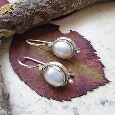 Perle, oval, Ohrringe, Ohrhänger, 925 Sterling Silber