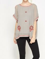 Next Top with Inner Camisole Size 10 Grey Cold Shoulder Embroidered Boho.