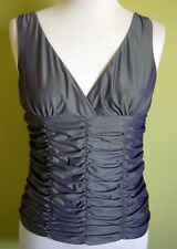 Ladies Womens Sleeveless V Neck Bronze Ruched Tank Top Singlet Rockmans Size 10