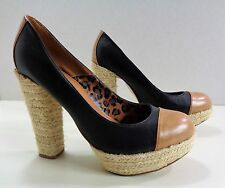 Next Casual Hesian Cord Style Heeled Court Shoes Black/Brown 6UK 39EU