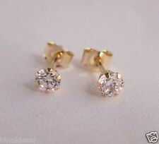 Girls 9ct Gold 3mm Tiny Small ROUND WHITE CLEAR CZ STUD EARRINGS X'Mas GIFT BOX