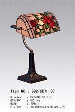 Banker lamp Tiffany Lampe Schreibtischlampe rote Rose weiß grün Blume neu T104M