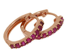 E027 Genuine 9ct SOLID Rose Gold NATURAL Ruby HUGGIE Earrings Hoops