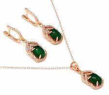 Smaragd farben  Anhänger & Ohrstecker 925 Silber  Rot Vergoldet