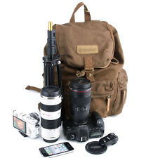 DSLR Camera Canvas Backpack Rucksack Bag For Canon Nikon Sony Pentax+Rain Cover