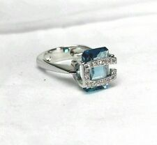 GUESS COLLECTION Elegant Ring 8.5 Blue Quartz Sterling Silver 925 - New
