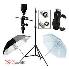 Photo Studio 1x Light Stand + White Black Umbrellas + 1x Flash Mount Bracket Kit