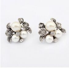 Pearl And Crystal Silver Flower Stud Statement Earrings