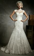 Justin Alexander 1940's vintage inspired lace wedding gown & jacket Size 10 8641
