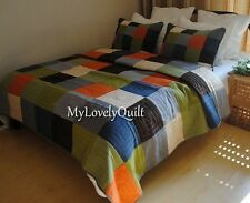 Colourful Patches Peach Skin Velvet Patchwork BEDSPREAD Quilt 3pcs Set QUEEN-New