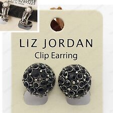 CLIP ON CRYSTAL DOME EARRINGS vintage silver tone BLACK rhinestone ANTIQUE STYLE