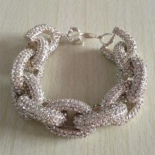 6 Rows Crystal Silver Chain Pave Link Bracelet Stunning Chunky Bracelet