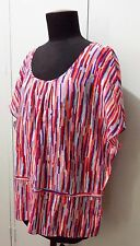 AS NEW Size 14 David Lawrence Red & Purple Cotton/Silk Women's Blouse