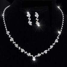 Hochzeit Brautschmuck Set Halskette und Ohringe Strass/Silber Neu
