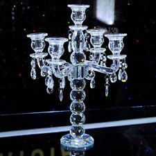 Vintage Crystal Candelabra Pillar Candle Holder Centerpiece Candlestick 5 Lights