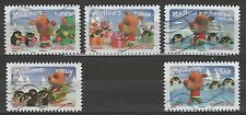 France 3262-66 Holiday Greetings Penguins & Reindeer 5 USED Stamps Issued 2006