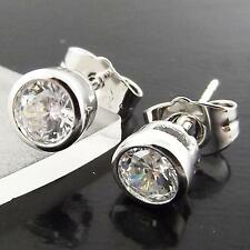 AN987 GENUINE REAL 18K WHITE G/F GOLD DIAMOND SIMULATED MENS STUD EARRINGS