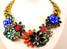 Statement Kette goldfarbe Collier Mehrfarbig Acrylglass Länge 48 cm Damen