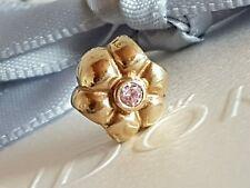 Genuine Pandora 14k 14ct Gold Pink CZ Stone Flower Charm 750237PCZ