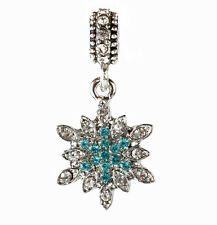 European 925 Silver Snowflake CZ Charm Beads Fit sterling Necklace Bracelet B#94