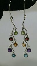 14k White Gold Earrings with color stones