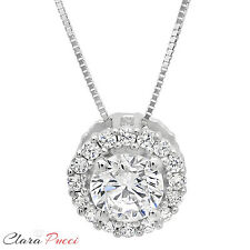 "1.35 ct Round Cut PAVE 14K White Gold Solitaire Pendant Necklace BOX + 16"" Chain"