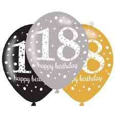 18th 18 Birthday Party Supplies Latex Balloons Gold Silver Black Decorations x 6