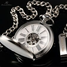 Men's Silver Full Hunter Vintage Skeleton Mechanical Pocket Watch + Chain & Box