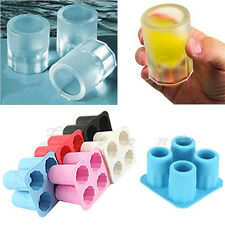 4-Cup Ice Cube Shot Shape Silicion Shooters Glass Freeze Mold Maker Tray party