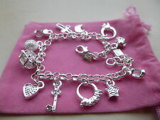 Sterling Silver 925 Charm Bracelet with 13 Charms inc gift bag Very Pretty