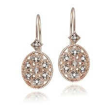 Rose Gold Tone over 925 Silver Diamond Filigree Oval Leverback Earrings