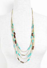 KENNETH COLE 'Mixed Bead' Turquoise Wood Gold-Tone Layered Chain Necklace