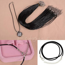 5pcs Charms Black Leather Wax Rope Cord Necklace 18'' Lobster Clasp Chain