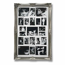 LARGE ANTIQUE SILVER MULTI PHOTO FRAME