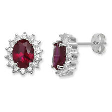Sterling Silver Red Ruby and clear Cubic Zirconia Stud Earrings