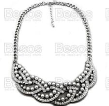 PEARL&CRYSTAL vintage twist collar NECKLACE statement NEXT white/silver GIFT UK