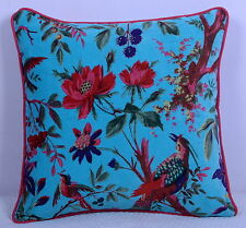 "16"" TURQUOISE INDIAN KANTHA VELVET CUSHION PILLOW Throw Cover Ethnic Sofa Art"