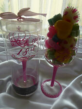 Clearance 18th Birthday Girl wine glass, plus 100gr.soy melts candles. Free post