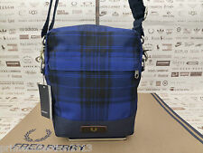 Genuine FRED PERRY Sml Body Bag Blue Check CLASSIC Side Shoulder Bags BNWT RP£55