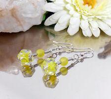 Ohrhänger Glas Würfel gelb marmoriert mit Ohrhaken - Ohrringe