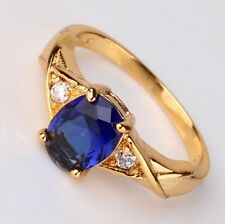 Victorian Style!!24k yellow gold filled lady Oval sapphire ring Size 9 234